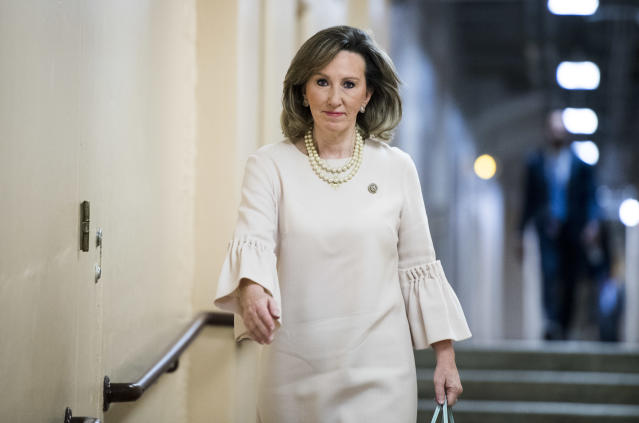 Rep. Barbara Comstock, R-Va., arrives for the House Republican Conference meeting on Capitol Hill on June 6. (Photo: Bill Clark/CQ Roll Call)