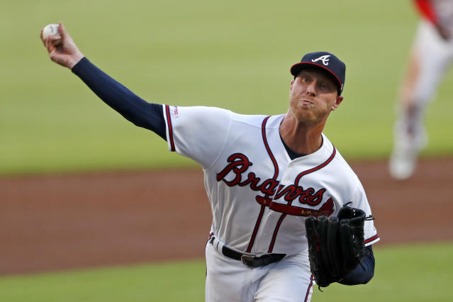 Atlanta Braves starting pitcher Mike Foltynewicz works in the first inning of a baseball game against the Los Angeles Dodgers, Saturday, Aug. 17, 2019, in Atlanta. (AP Photo/John Bazemore)