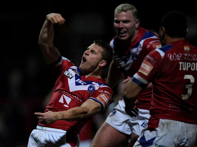 Jacob Miller celebrates after scoring for Wakefield in a recent clash with Leigh Centurions (Getty)