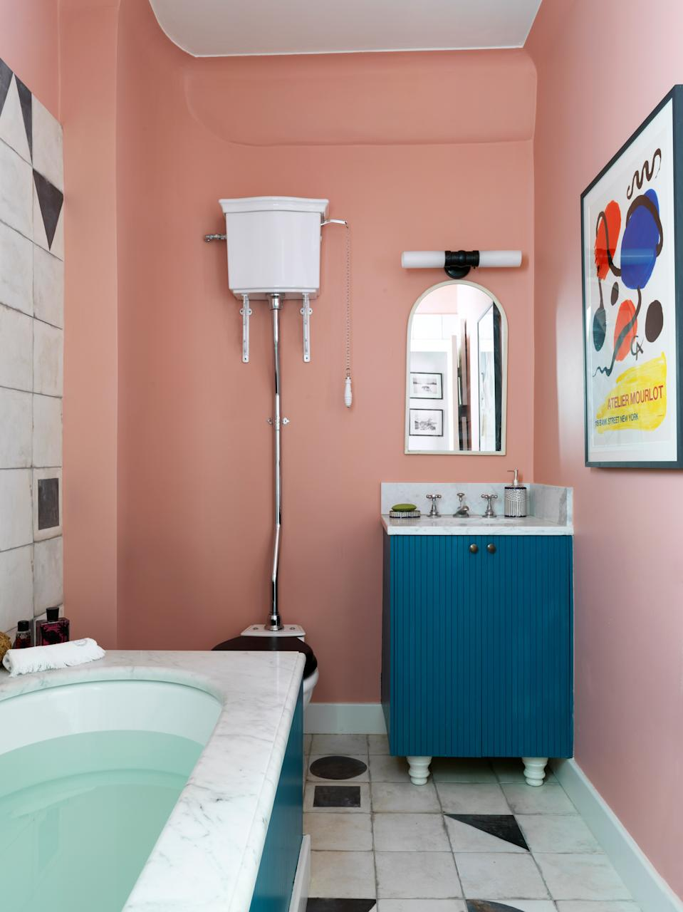 """""""I like the high loo and think it adds to the height of the room,"""" Beata says. """"People tend to not like seeing the toilet, but I think they are actually quite beautiful."""""""