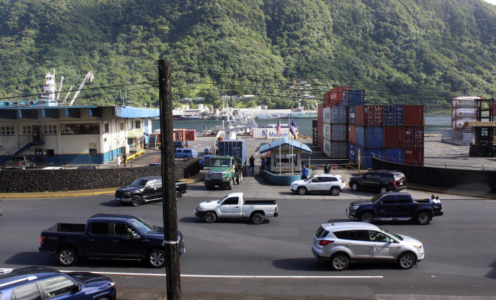 Traffic leaves the Port of Pago Pago after closing because a tsunami warning was issued for American Samoa on Thursday, March 4, 2021. The Pacific Tsunami Warning Center cancelled a tsunami watch for Hawaii that was issued after a huge earthquake occurred in a remote area between New Zealand and Tonga. The agency previously cancelled a tsunami warning it had issued for American Samoa. (AP Photo/Fili Sagapolutele)