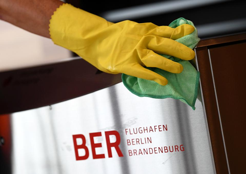 """The name """"BER Flughafen Berlin Brandenburg"""" is seen during a media tour at the Berlin Brandenburg Airport (BER), also called """"Willy Brandt"""", ahead of its opening in Schoenefeld near Berlin, Germany, October 19, 2020. REUTERS/Annegret Hilse"""