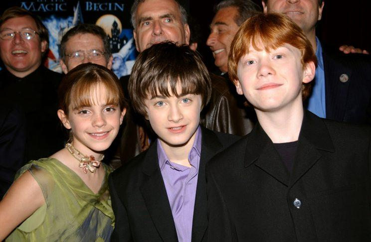 Emma Watson, Daniel Radcliffe and Rupert Grint at the New York premiere of <em>Harry Potter and the Sorcerer's Stone</em>. (Photo: Richard Corkery/N.Y. Daily News Archive via Getty Images)