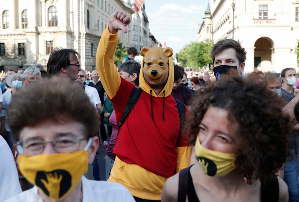 A person dressed as Winnie the Pooh – the subversive nickname of Xi Jinping – seen at the protest.