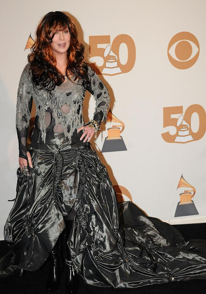 Singer Cher in the press room at the 50th Annual GRAMMY Awards at the Staples Center on February 10, 2008 in Los Angeles, California. (Photo by Jeff Kravitz/FilmMagic)