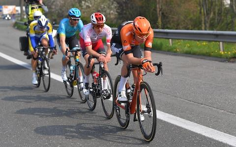 <span>Breakaway riders Kenneth Van Rooy, Hugo Houle, Damien Touze and&nbsp;Jesper Asselman</span> <span>Credit: Getty Images </span>