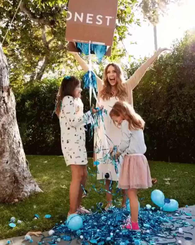 """<p>The actress and soon-to-be mom of three shared her baby gender reveal with followers on Wednesday — and it's a boy! The photo shows Alba showering her daughters, Honor and Haven, with blue ballons and streamers, and she hashtagged it """"officially outnumbered,"""" """"baby boy,"""" and """"can't wait to spoil him."""" <br>(Photo: <a href=""""https://www.instagram.com/p/Bar_v2Zh1Op/?taken-by=jessicaalba"""" rel=""""nofollow noopener"""" target=""""_blank"""" data-ylk=""""slk:Jessica Alba via Instagram"""" class=""""link rapid-noclick-resp"""">Jessica Alba via Instagram</a>) </p>"""