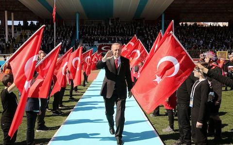 Turkish President Erdogan attends a ceremony marking the 104th anniversary of Battle of Canakkale, also known as the Gallipoli Campaign, in Canakkale - Credit: Cem Oksuz/Presidential Press Office