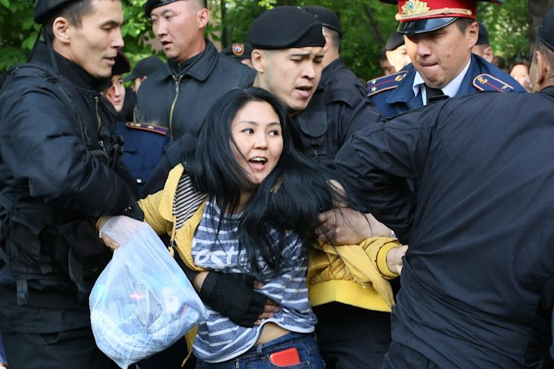 Image result for Kazakhstan police detain hundreds of opposition protesters during widely criticised elections