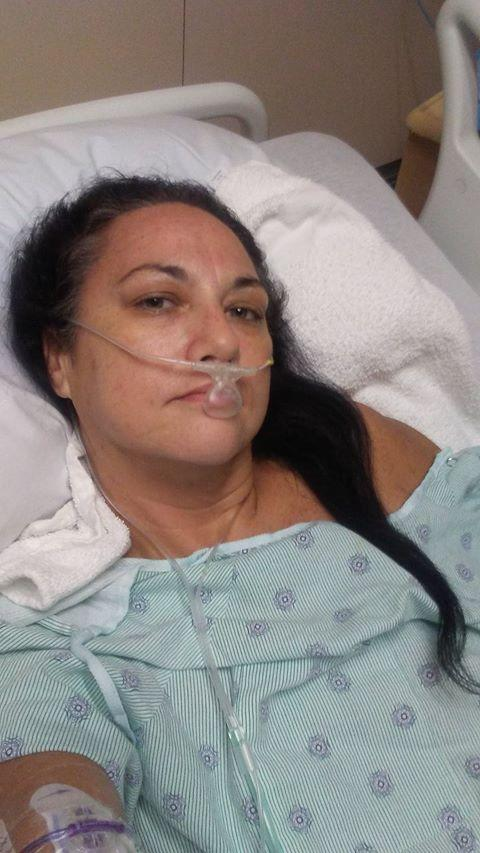 Heather Harbottle, who lives in Hawaii, is seen in hospital while battling the flesh-eating bacteria.