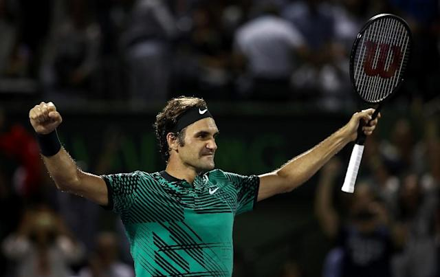 Roger Federer of Switzerland celebrates defeating Nick Kyrgios of Australia in the semi-finals at the Miami Open (AFP Photo/JULIAN FINNEY)