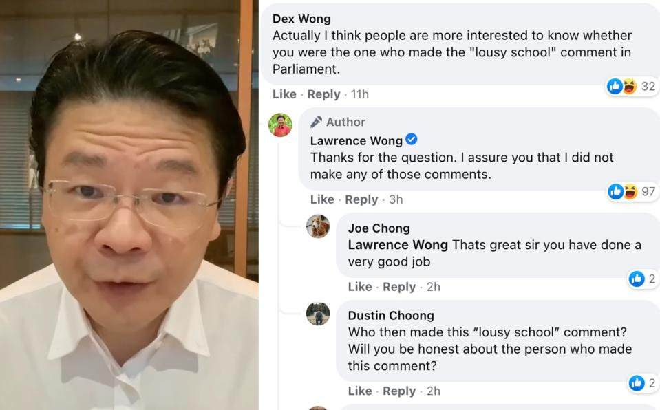 Lawrence Wong addressing a question by a netizen about the