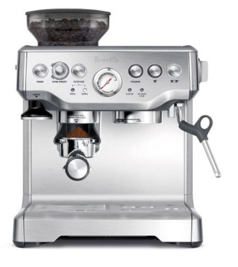 """This one ain't cheap, so maybe it's a gift you go in on together since you'll both benefit equally from FANCY COFFEE IN YOUR OWN HOME!! Get it at <a href=""""https://www.canadiantire.ca/en/pdp/breville-barista-express-espresso-machine-0439180p.html"""" target=""""_blank"""" rel=""""noopener noreferrer"""">Canadian Tire</a>, $799."""