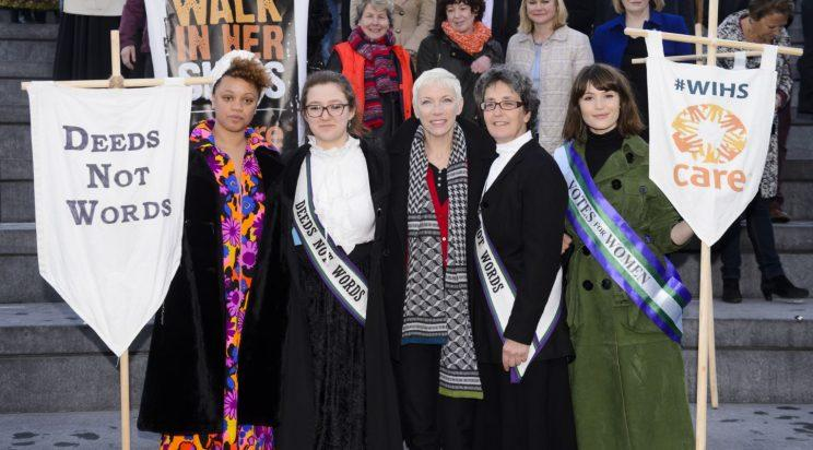 Celeb backing: Gemma Cairney, Laura Pankhurst, Annie Lennox, Helen Parkhurst and Gemma Arterton pictured at CARE International's Walk In Her Shoes event on International Women's Day 2015 (REX/Shutterstock)
