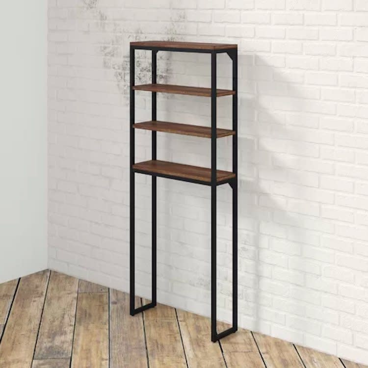 "<p>If you're a renter or simply don't want to deal with installing a new set of shelves, order a floor-standing shelving unit that's designed to fit around your toilet. This wood and metal option would work for both industrial or modern farmhouse-style homes. </p> <p><strong>To buy: </strong>$137, <a href=""http://www.anrdoezrs.net/links/7876406/type/dlg/sid/RS%2C5WaystoMaximizeYourBathroom%25E2%2580%2599sOver-the-ToiletStorage%2Ckholdefehr1271%2CORG%2CIMA%2C670523%2C201908%2CI/https://www.wayfair.com/storage-organization/pdp/17-stories-eckles-25-w-x-64-h-over-the-toilet-storage-gpdj1028.html"" target=""_blank"">wayfair.com</a>. </p>"