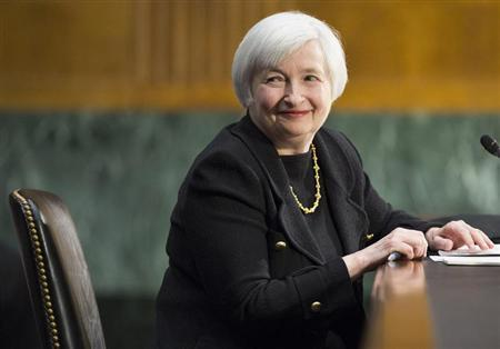 U.S. Federal Reserve Vice Chair Yellen testifies on her nomination to be the next chairman of the Fed during a Senate Banking Committee confirmation hearing in Washington