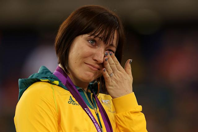 LONDON, ENGLAND - AUGUST 07: Gold medallist Anna Meares of Australia celebrates during the medal ceremony for the Women's Sprint Track Cycling Final on Day 11 of the London 2012 Olympic Games at Velodrome on August 7, 2012 in London, England. (Photo by Bryn Lennon/Getty Images)