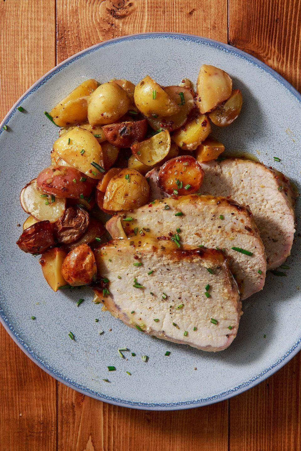 """<p>Pairs perfectly with the roasted potatoes. </p><p>Get the recipe from <a href=""""https://www.delish.com/cooking/recipe-ideas/recipes/a8597/roast-pork-tenderloin-recipe/"""" rel=""""nofollow noopener"""" target=""""_blank"""" data-ylk=""""slk:Delish"""" class=""""link rapid-noclick-resp"""">Delish</a>. </p>"""