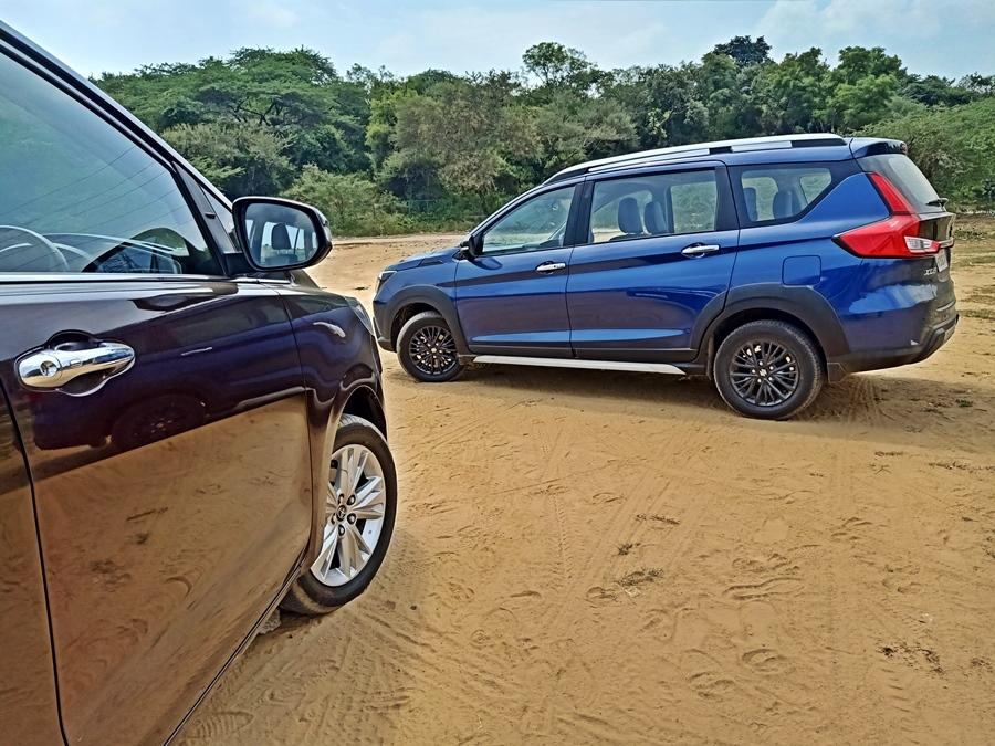 The XL6 comes with rather small 15-inch wheels, but the cladding and the new front make this more appealing than the Ertiga. The Innova, meanwhile, has bigger 17-inch wheels, but the proportions are more luxury MPV. The Innova towers over other cars.
