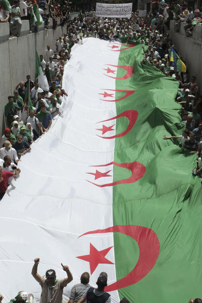 Algerian protesters hold a large flag as they gather during an anti-government demonstration in the centre of the capital Algiers, Algeria, Friday, June 7, 2019. (AP Photo/Anis Belghoul)
