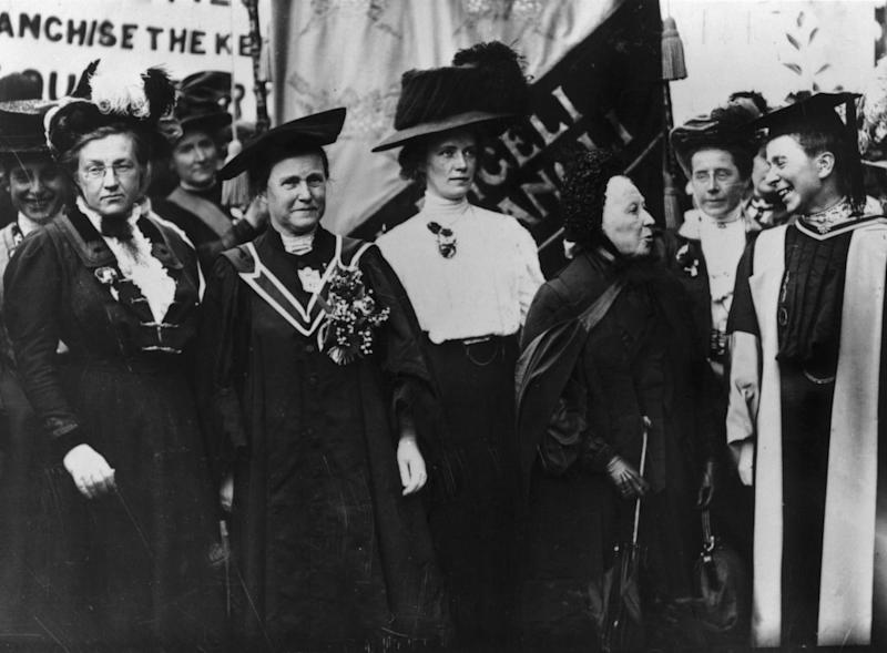 A march of the National Union of Women's Suffrage, 1908. From left to right, Lady Frances Balfour (1858 - 1931), Millicent Fawcett (1847 - 1929), Ethel Snowden (1880 - 1951), Emily Davies (1830 - 1921) and Sophie Bryant (1850 - 1922). (Getty Images/Hulton Archive)