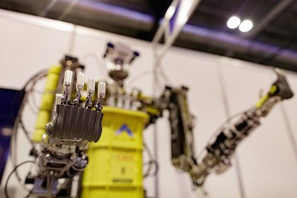 A robot is exhibited at the Global Robot Expo 2018 at Ifema on April 18, 2018 in Madrid, Spain. Global Robot Expo has more than a hundred exhibitors, mostly belonging to Spanish companies and will remain open until April 20. (Photo by Eduardo Parra/Getty Images)