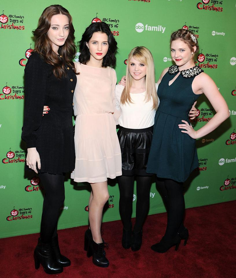 "Emma Dumont, Julia Goldani Telles, Bailey Buntain and Kaitlyn Jenkins of Bunheads attend ABC Family's ""25 Days Of Christmas"" Winter Wonderland event at Rockefeller Center on December 2, 2012 in New York City."