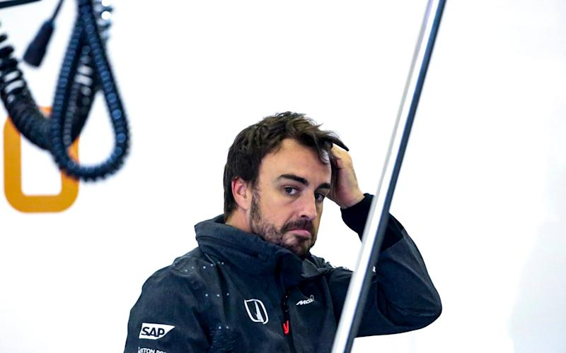 Spanish Formula One driver Fernando Alonso of McLaren-Honda inside the team garage during the first practice session ahead of the Chinese Formula One Grand Prix at the Shanghai International circuit in Shanghai, China, 07 April 2017. The 2017 Chinese Formula One Grand Prix will take place on 09 April - Credit: DIEGO AZUBEL/EPA