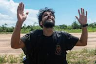Antonio Sena is pictured after being rescued in Santarem, Para State on March 6, 2021, after managing to survive alone in the Amazon rainforest for 38 days
