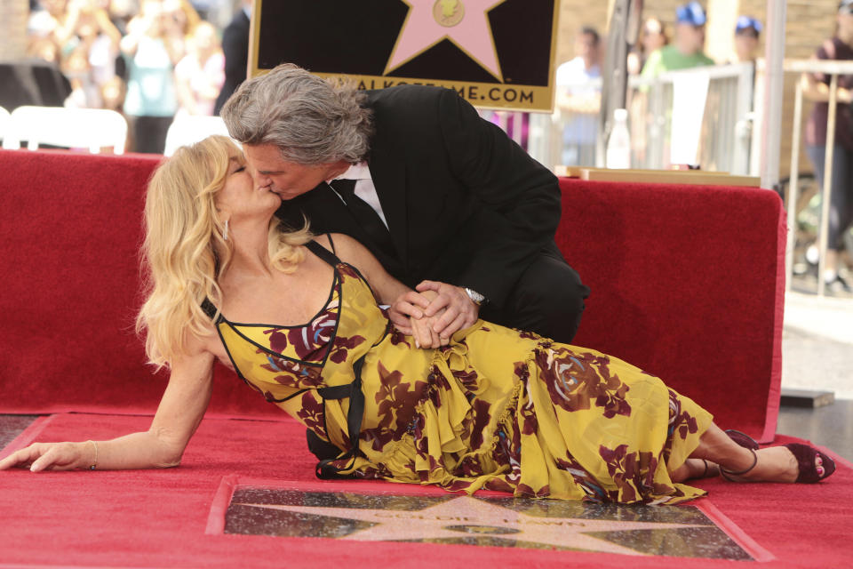 Goldie Hawn and Kurt Russell seen at ceremony honoring them each with a star on the Hollywood Walk of Fame on Thursday, May 4, 2017, in Los Angeles. (Photo by Eric Charbonneau/Invision for Twentieth Century Fox/AP Images)