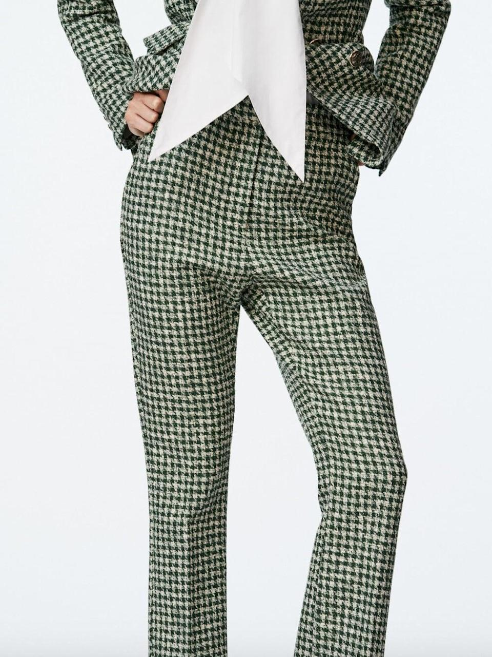 <p>If you love houndstooth, we found your fall match. The <span>Zara Structured Mini Flare Pants </span> ($50) are cool, flattering, and of course, chic.</p>
