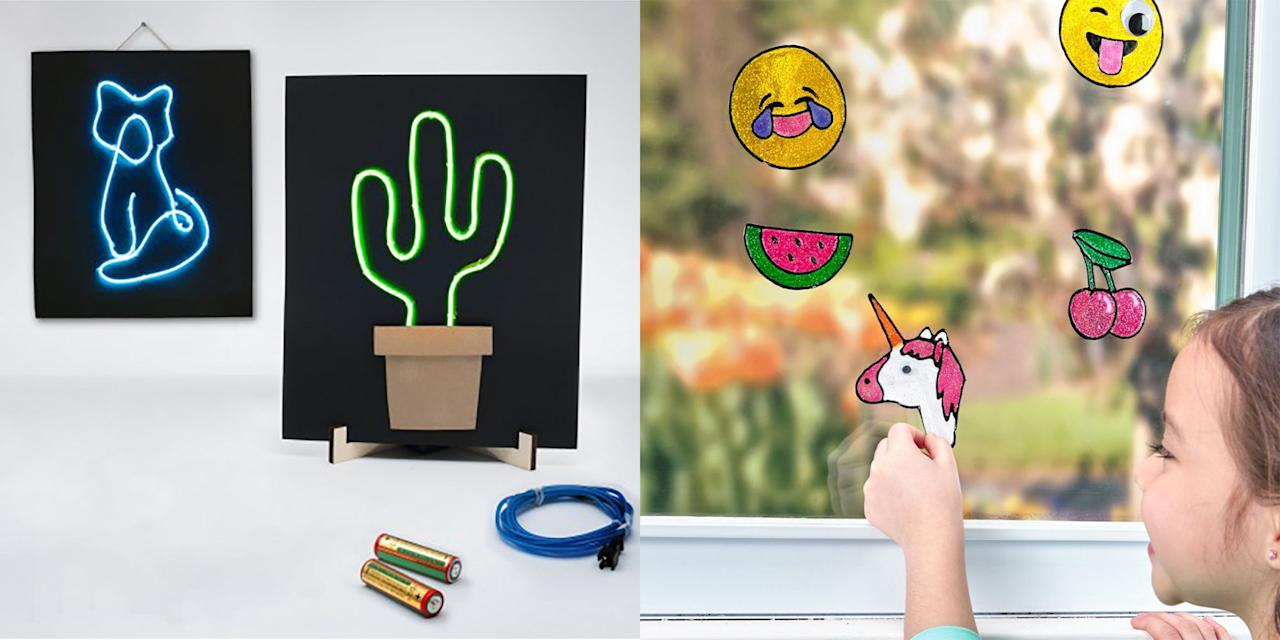 """<p>Sometimes, all kids need is a blank sheet of paper and some art materials to get their creativity flowing. Other times, they need a little inspiration to get started. When you're in need of your next refrigerator masterpiece, it's time to break out some cool craft kits for kids — one of our favorite <a href=""""https://www.goodhousekeeping.com/home/craft-ideas/how-to/g1389/diy-kids-activities/"""" target=""""_blank"""">kids' activities</a> to keep them busy for hours.</p><p>These art kits for kids may come in a box, but they don't stifle their artistic intuitions — this isn't about coloring within the lines. Boys and girls, toddlers and teens can all find something that will spark their imaginations. The kits will give them the materials to get started, sure, but the rest is up to the artists themselves: Some give you 2D works ready for hanging (or even framing), while others will help them make something that's meant to <a href=""""https://www.goodhousekeeping.com/home/decorating-ideas/g2525/kids-rooms-makeovers/"""" target=""""_blank"""">decorate their rooms</a>, since kids love to personalize their own spaces. Get ready to break out the markers, glue, string, stickers, tissue paper, stamps, and even rocks and get creating. (And, parents, we feel your struggles, so we tried to find kits that weren't too messy, either.) When all is done, you'll be able to have your own at-home open studio day and have an art show of new, incredible works.</p>"""