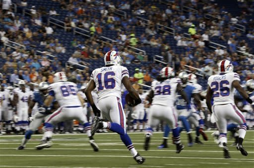 Buffalo Bills' Brad Smith (16) returns the opening kickoff against the Detroit Lions in the first quarter of their NFL preseason football game in Detroit, Thursday, Aug. 30, 2012. (AP Photo/Paul Sancya)