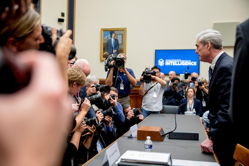 Former special counsel Robert Mueller returns from a short break while testifying before the House Intelligence Committee hearing on his report on Russian election interference, on Capitol Hill, in Washington on July 24, 2019.