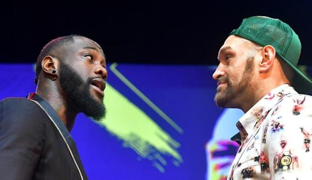 Tyson Fury and Deontay Wilder face off ahead of their February 22 rematch in Las Vegas (AFP Photo/Frederic J. BROWN)