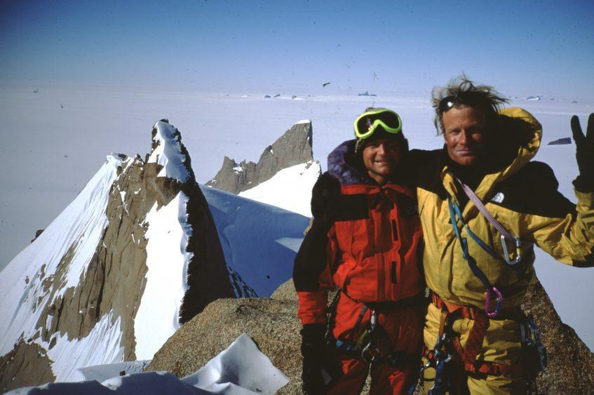 Alex Lowe (L) and Conrad Anker on the summit of Trolls Loppet, in the Antarctic region of Queen Maud Land, 1996 - Credit: National Geographic/Gordon Wiltsie