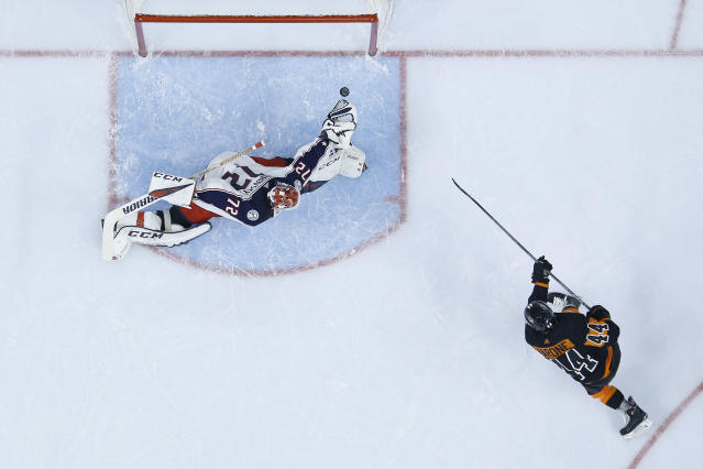 Philadelphia Flyers' Phil Varone (44) scores a goal past Columbus Blue Jackets' Sergei Bobrovsky (72) during the second period of an NHL hockey game, Saturday, Dec. 22, 2018, in Philadelphia. (AP Photo/Matt Slocum)