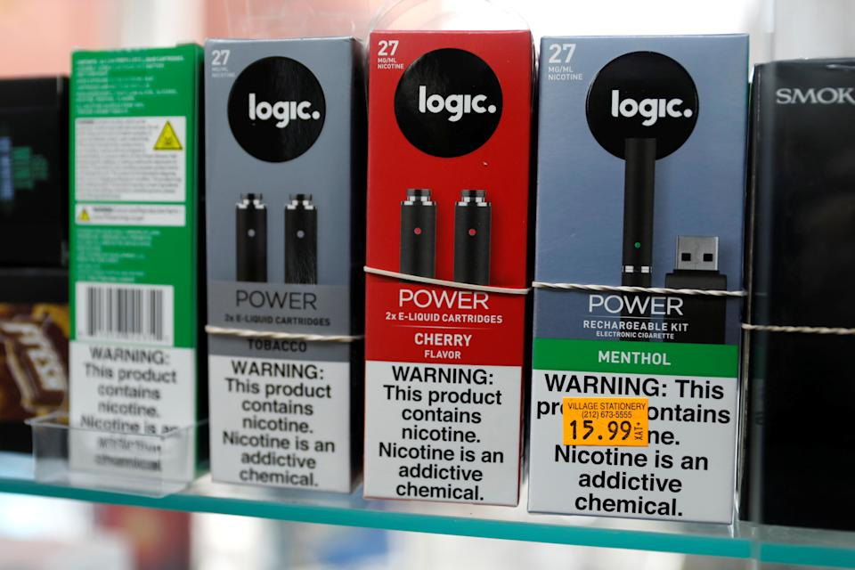 Logic. e-cigarette products are seen for sale in a shop in Manhattan in New York City, New York, on 6 February, 2019. (REUTERS file photo)