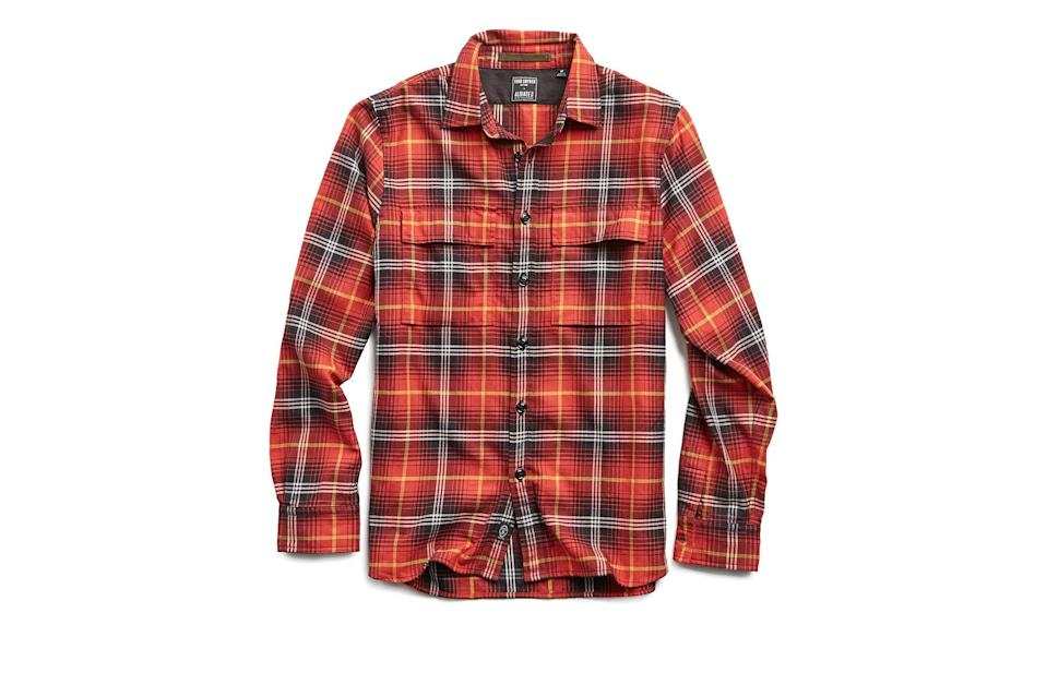 "$298, Todd Snyder. <a href=""https://www.toddsnyder.com/collections/sale/products/vintage-plaid-shirt-jacket-red"" rel=""nofollow noopener"" target=""_blank"" data-ylk=""slk:Get it now!"" class=""link rapid-noclick-resp"">Get it now!</a>"