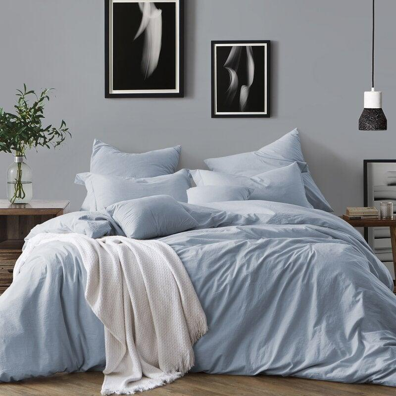 "<h2>Chattanooga Duvet Cover Set<br></h2><br><strong>Discount:</strong> 47% off<br><br><strong>The Hype: </strong>4.5 out of 5 stars and 3,812 reviews<br><br><strong>Deal Hunters Say: </strong>""This duvet cover is a nice fabric that is quite wrinkly but in a low maintenance way. I love the zipper closure at the bottom, it reduces the tiny micro feather dust from escaping and making a mess of my room. My husband likes that it is breathable and doesn't add extra heat at night.""<br><br><em>Shop <strong><a href=""https://fave.co/3dIVa5b"" rel=""nofollow noopener"" target=""_blank"" data-ylk=""slk:AllModern"" class=""link rapid-noclick-resp"">AllModern</a></strong></em><br><br><strong>AllModern</strong> Chattanooga Duvet Cover Set, $, available at <a href=""https://go.skimresources.com/?id=30283X879131&url=https%3A%2F%2Ffave.co%2F3l9EvKB"" rel=""nofollow noopener"" target=""_blank"" data-ylk=""slk:Wayfair"" class=""link rapid-noclick-resp"">Wayfair</a>"