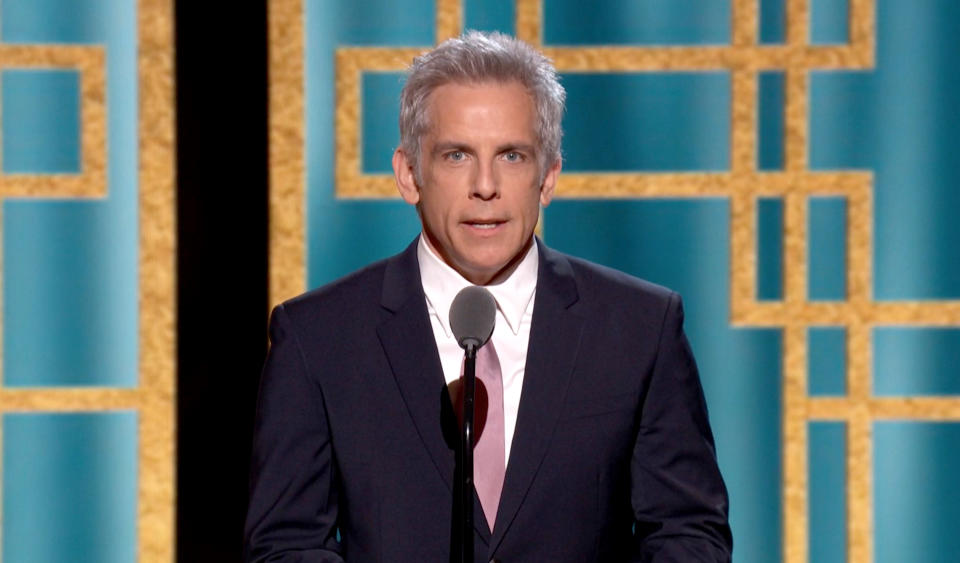 UNSPECIFIED: 78th Annual GOLDEN GLOBE AWARDS -- Pictured in this screengrab released on February 28, (l-r) Ben Stiller speaks onstage at the 78th Annual Golden Globe Awards broadcast on February 28, 2021. --  (Photo by NBC/NBCU Photo Bank via Getty Images)