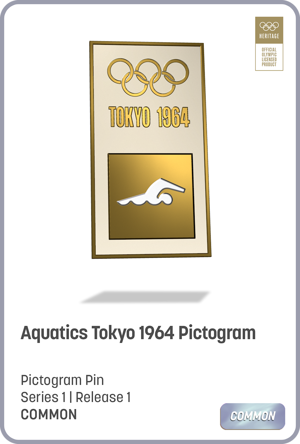 A pin of an aquatics pictogram when Tokyo first hosted the Olympics, 1964.