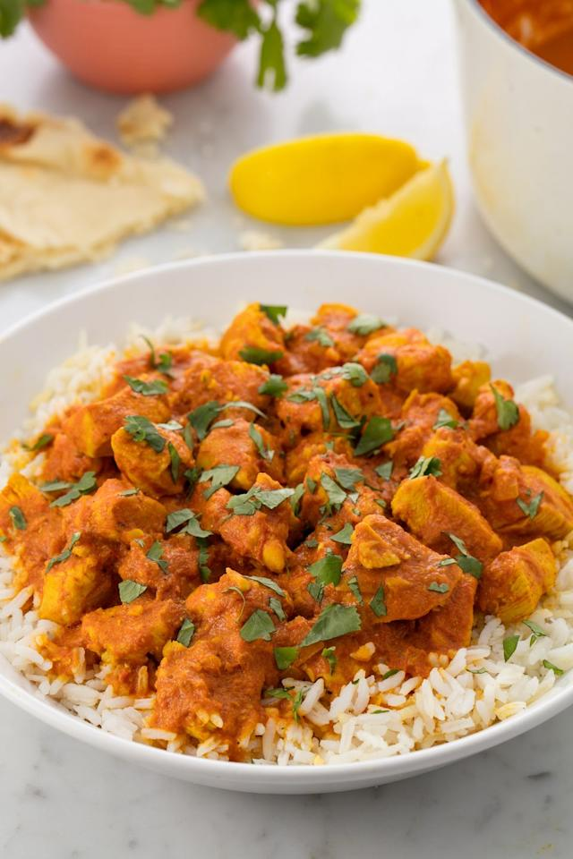 """<p>Making Indian at home doesn't have to be intimidating.</p><section></section><p>Get the recipe from <a href=""""https://www.delish.com/cooking/recipe-ideas/recipes/a54696/easy-indian-chicken-curry-recipe/"""" target=""""_blank"""">Delish</a>.<a href=""""/cooking/recipe-ideas/recipes/a54696/easy-indian-chicken-curry-recipe/"""" target=""""_blank""""></a></p>"""