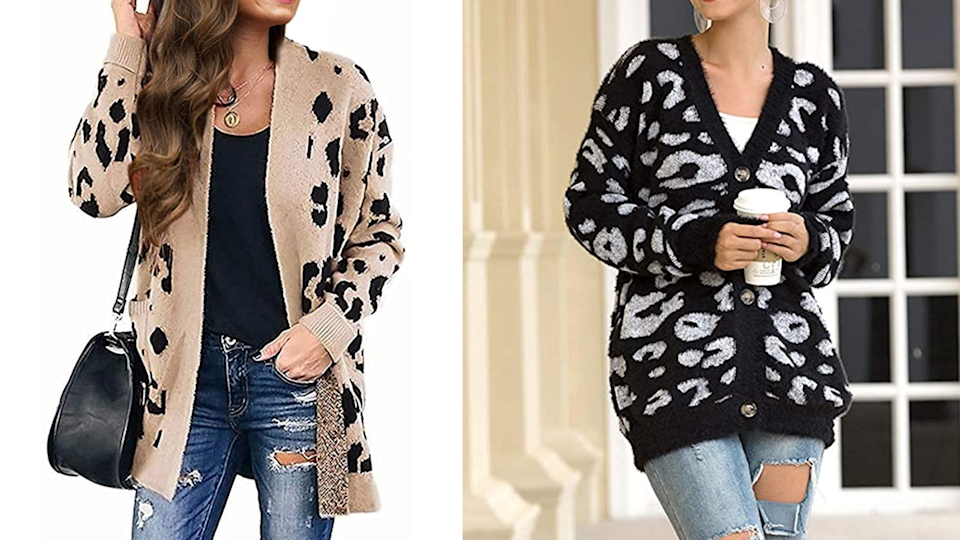 Layer up with this cozy printed cardigan.