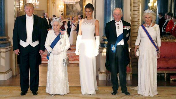 PHOTO: President Donald Trump, Queen Elizabeth, first lady Melania Trump, Prince Charles and Camilla, the Duchess of Cornwall pose for the media ahead of the State Banquet at Buckingham Palace in London, June 3, 2019. (Alastair Grant/AP)