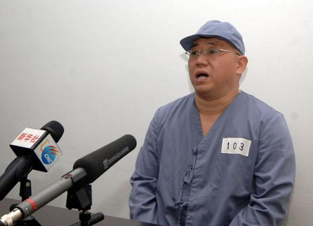 Kenneth Bae, a Korean-American Christian missionary who has been detained in North Korea for more than a year, appears before a limited number of media outlets in Pyongyang in this undated photo released by North Korea's Korean Central News Agency (KCNA) on January 20, 2014. U.S. citizens Bae and Matthew Todd Miller have been freed from detention by the North Korean government and are returning to the United States, the U.S. government said November 8, 2014. REUTERS/KCNA (NORTH KOREA - Tags: CRIME LAW POLITICS RELIGION) ATTENTION EDITORS - THIS PICTURE WAS PROVIDED BY A THIRD PARTY. REUTERS IS UNABLE TO INDEPENDENTLY VERIFY THE AUTHENTICITY, CONTENT, LOCATION OR DATE OF THIS IMAGE. FOR EDITORIAL USE ONLY. NOT FOR SALE FOR MARKETING OR ADVERTISING CAMPAIGNS. THIS PICTURE IS DISTRIBUTED EXACTLY AS RECEIVED BY REUTERS, AS A SERVICE TO CLIENTS. NO THIRD PARTY SALES. NOT FOR USE BY REUTERS THIRD PARTY DISTRIBUTORS. SOUTH KOREA OUT. NO COMMERCIAL OR EDITORIAL SALES IN SOUTH KOREA