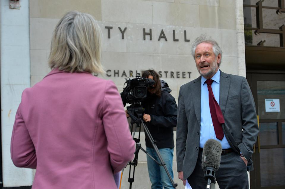 Leicester City Mayor Sir Peter Soulsby speaks to the media in Leicester City Centre as speculation grows about a localised lockdown in Leicester