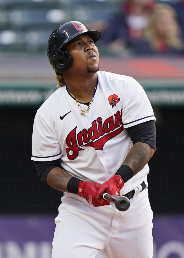 Cleveland Indians' Jose Ramirez watches his two-run home run in the third inning of the second baseball game of a doubleheader against the Chicago White Sox, Monday, May 31, 2021, in Cleveland. (AP Photo/Tony Dejak)