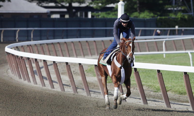 I'll Have Another, with exercise rider Jonny Garcia up, trains at Belmont Park, Wednesday, June 6, 2012, in Elmont, N.Y. The winner of the Kentucky Derby and Preakness will attempt to win the Belmont Stakes and Triple Crown  Saturday. (AP Photo/Mark Lennihan)