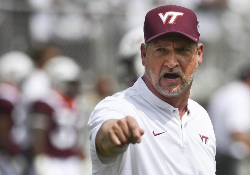 BLACKSBURG, VA - SEPTEMBER 8: Defensive coordinator and associate head coach Bud Foster of the Virginia Tech Hokies calls out instructions prior to the game against the William & Mary Tribe at Lane Stadium on September 8, 2018 in Blacksburg, Virginia. (Photo by Michael Shroyer/Getty Images)